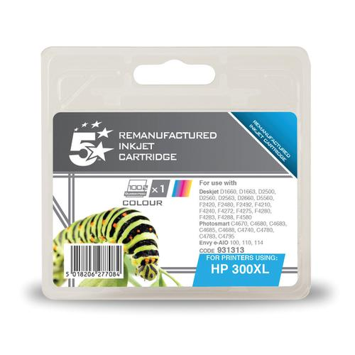 5 Star Office Reman Inkjet Cart HY Page Life 440pp 11ml Tri-Colour [HP No.300XL CC644EE Alternative]