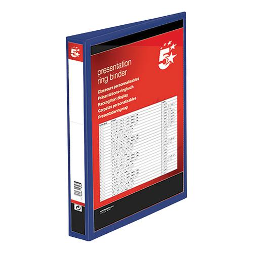 5 Star Office Presentation Ring Binder Polypropylene 4 D-Ring 25mm Size A4 Blue [Pack 10]