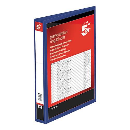 5 Star Office Presentation Ring Binder Polypropylene 4 D-Ring 38mm Size A4 Blue [Pack 10]
