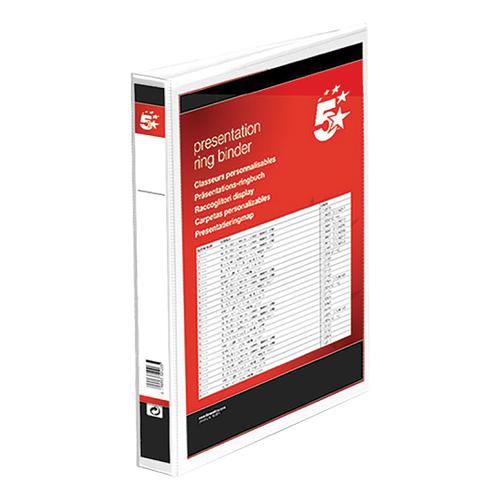 5 Star Office Presentation Ring Binder Polypropylene 2 D-Ring 38mm Size A4 White [Pack 10]