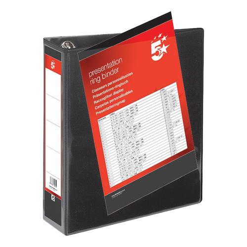 5 Star Office Presentation Ring Binder Polypropylene 4 D-Ring 50mm Size A4 Black [Pack 10]