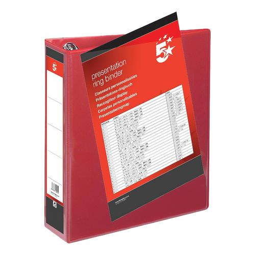 5 Star Office Presentation Ring Binder Polypropylene 4 D-Ring 65mm Size A4 Red [Pack 10]