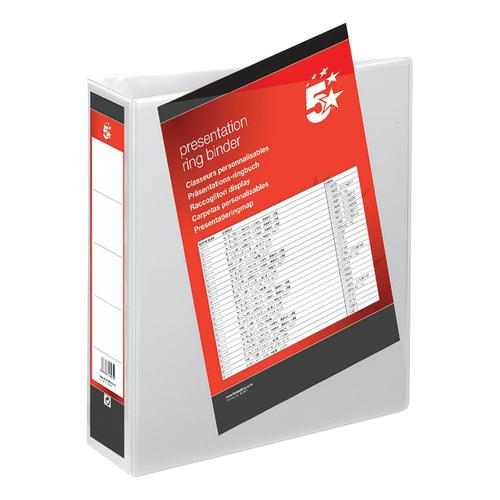 5 Star Office Presentation Ring Binder Polypropylene 2 D-Ring 65mm Size A4 White [Pack 10]