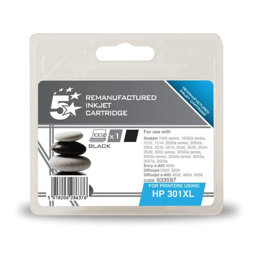 5 Star Office Remanufactured Inkjet Cart Page Life 480pp 8ml Black [HP No.301XL CH563EE Alternative]