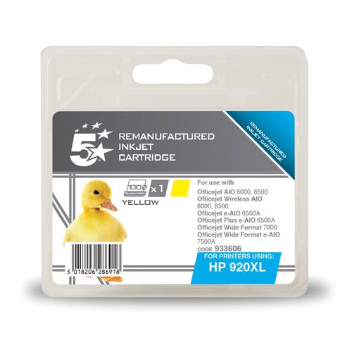 5 Star Office Remanufactured Inkjet Cart HY Page Life 700pp 6ml Yellow [HP No.920XL CD974AE Alternative]