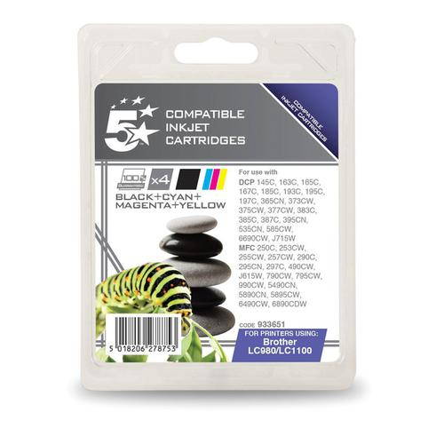 5 Star Office Remanufactured IJCartridges 450ppBlack325pp Cyan/Magenta/Yellow[Brother LC1100VALBP] [Pack 4]