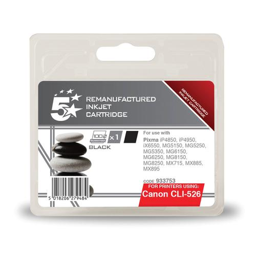 5 Star Office Remanufactured Inkjet Cartridge Page Life 660pp 9ml Black [Canon CLI-526BK Alternative]