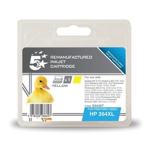 5 Star Office Reman Inkjet Cartridge HY Page Life 750pp 6ml Yellow [HP 364XL CB325EE Alternative]