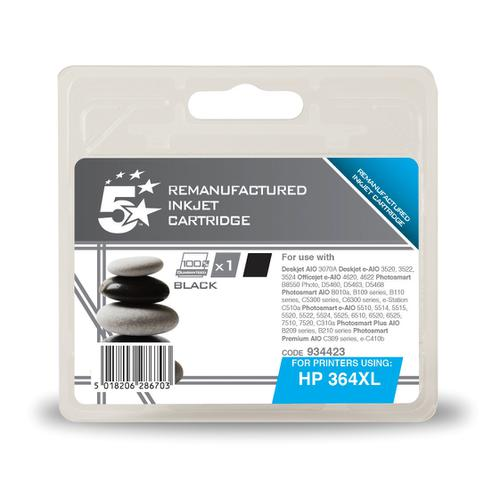 5 Star Office Reman Inkjet Cartridge HY Page Life 550pp 18ml Black [HP No.364XL CN684EE Alternative]