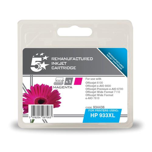 5 Star Office Remanufactured Inkjet Cart HY Page Life 825pp 9ml Magenta [HP No.933XL CN055AE Alternative]