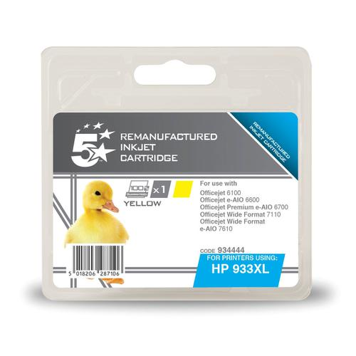 5 Star Office Reman Inkjet Cartridge HY Page Life 825pp 8.5ml Yel[HP No.933XL CN056AE Alternative]