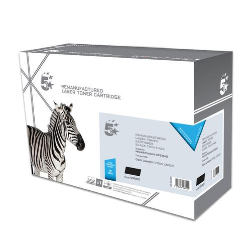 5 Star Office Remanufactured Laser Toner Cartridge 3500pp Black [HP 304A CC530AD Alternative] [Pack 2]