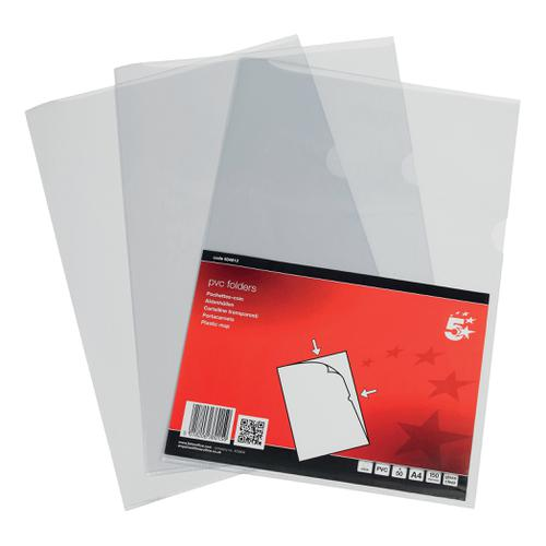 5 Star Elite Folder Cut Flush PVC Top and Side Opening 135 Micron A4 Glass Clear [Pack 50]