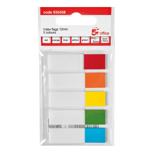 5 Star Office Index Flags 5 Bright Colours 12x45mm 20 Flags per Colour Assorted [Pack 5]