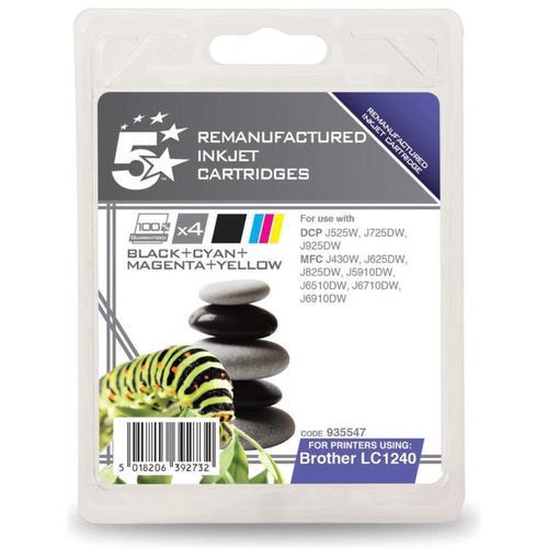 5 Star Office Reman Inkjet Cartridges 600pp Black/Cyan/Magenta/Yellow [Brother LC1240VALBP Alt] [Pack 4]