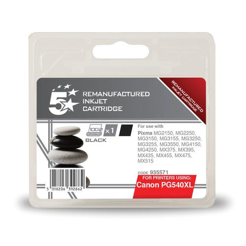 5 Star Office Remanufactured Inkjet Cartridge Page Life 600pp 21ml Black [Canon PG-540XL Alternative]