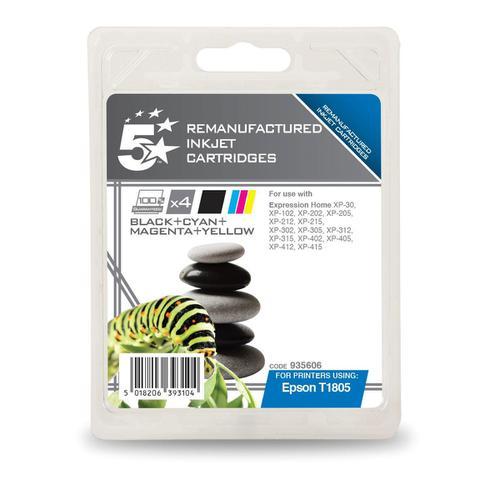 5 Star Office Reman Inkjet Cartridges Blk 5.2ml C/M/Y 3.3ml [Epson C13T18064012 Alternative] [Pack 4]