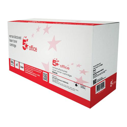 5 Star Office Remanufactured Laser Toner Cartridge 4000pp Black [HP 12X Q2612A Alternative]
