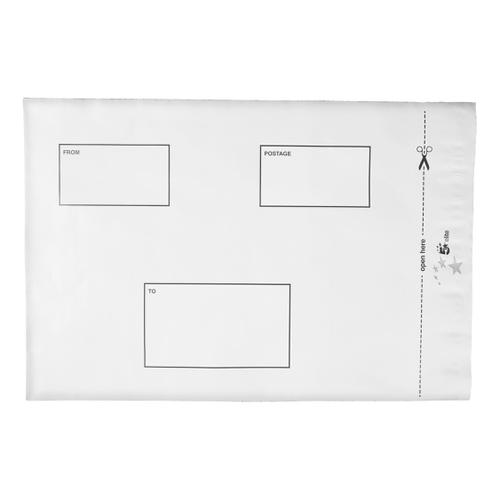5 Star Elite Envelopes ExtraStrong Waterproof Polythene Peel & Seal Opaque 250x320mm&50mm Flap [Pack 100]