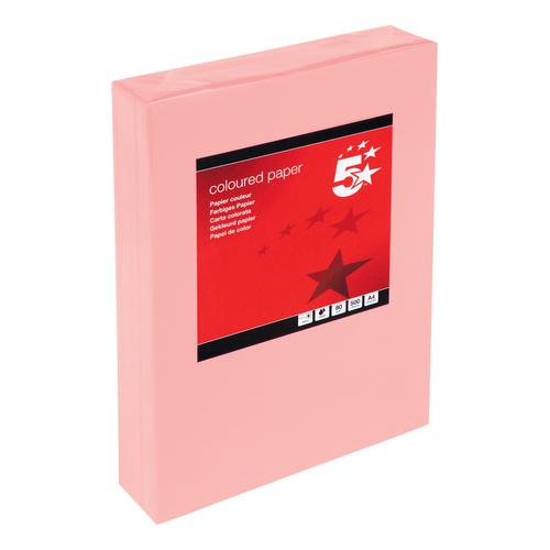 5 Star Office Coloured Copier Paper Multifunctional Ream-Wrapped 80gsm A4 Medium Salmon [500 Sheets]