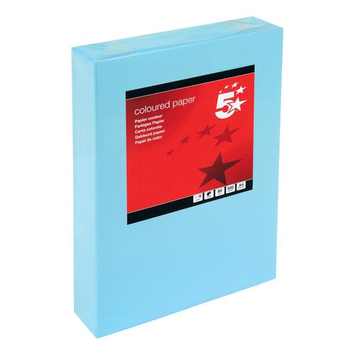 5 Star Office Coloured Copier Paper Multifunctional Ream-Wrapped 80gsm A4 Medium Blue [500 Sheets]