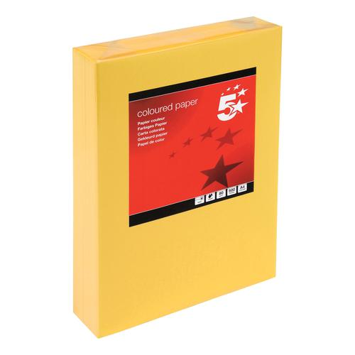 5 Star Office Coloured Copier Paper Multifunctional Ream-Wrapped 80gsm A4 Medium Gold [500 Sheets]