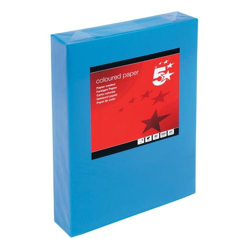 5 Star Office Coloured Copier Paper Multifunctional Ream-Wrped 80gsm A4 Deep Turquoise/Blue [500 Sheets]