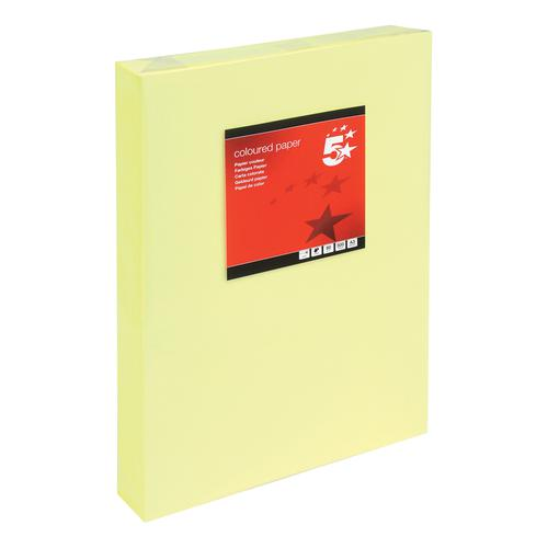 5 Star Office Coloured Copier Paper Multifunctional Ream-Wrapped 80gsm A3 Light Yellow [500 Sheets]