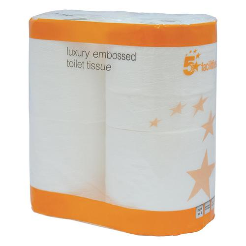 5 Star Facilities Luxury Toilet Rolls 2-ply 120x96mm 4 Rolls of 240 Sheets Per Pack White [Pack 10]
