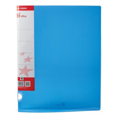 5 Star Office Ring Binder 2 O-Ring Translucent Polypropylene A4 Blue [Pack 10]