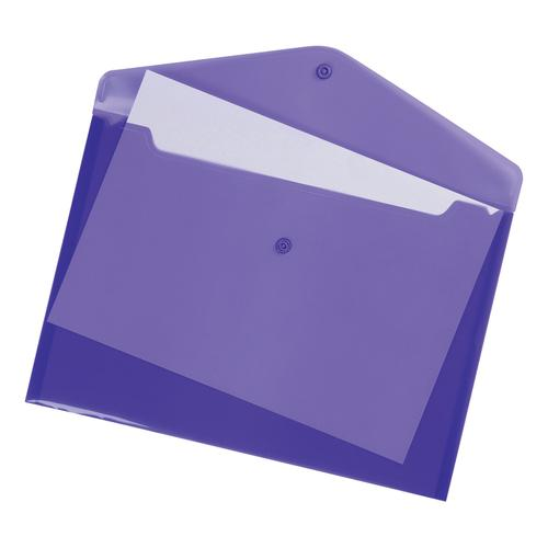 5 Star Office Envelope Stud Wallet Polypropylene A4 Translucent Purple [Pack 5]