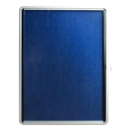 5 Star Glazed Noticeboard with Hinged Door Locking Alumin Frame Blue Felt 750x10000mm