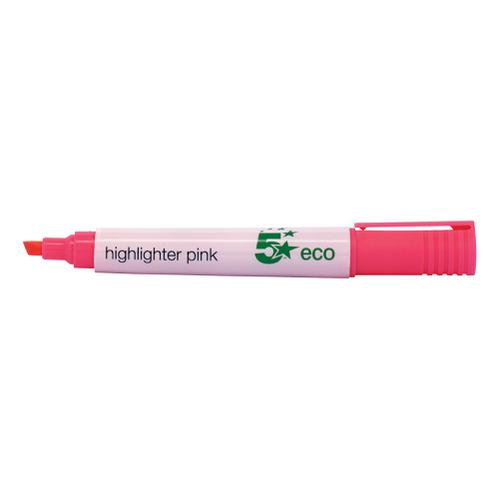 5 Star Eco Highlighter Chisel Tip 1-5mm Line Pink [Pack 10]