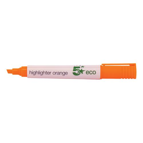 5 Star Eco Highlighter Chisel Tip 1-5mm Line Orange [Pack 10]