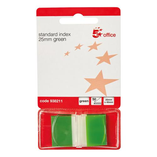 5 Star Office Standard Index Flags 50 Sheets per Pad 25x45mm Green [Pack 5]