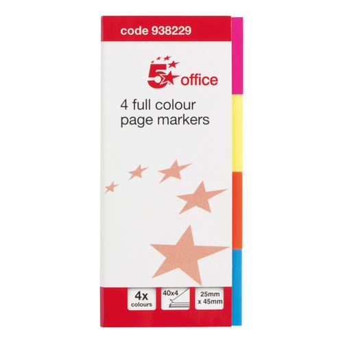 5 Star Office Index Flag Neon Four Colour [Pack 5]