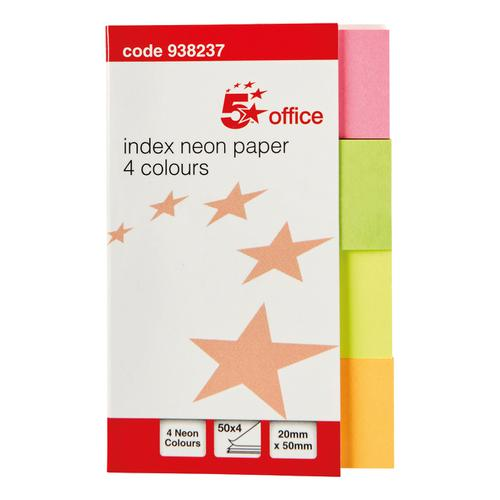 5 Star Office Index Neon Paper Page Markers 20x50mm 50 Sheets per Colour Assorted [Pack 5]