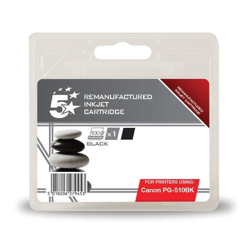 5 Star Office Remanufactured Inkjet Cartridge Page Life 220pp 9ml [Canon PG-510BK Alternative] Black
