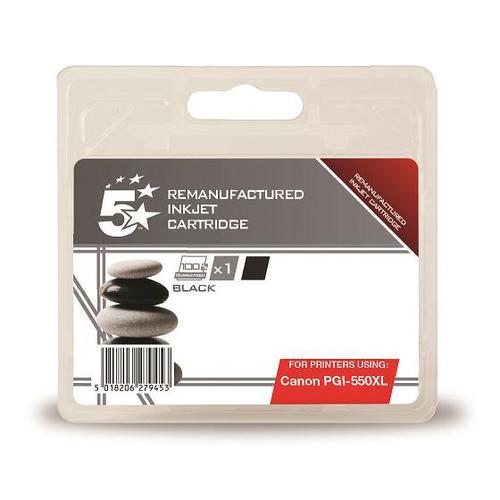 5 Star Office Remanufactured Inkjet Cart HY Page Life 500pp 22ml [Canon PGI-550 XL Alternative] Black