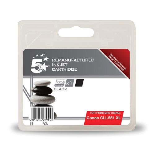 5 Star Office Reman Inkjet Cartridge HY Page Life 1125pp 11ml [Canon CLI-551XL Alternative] Black