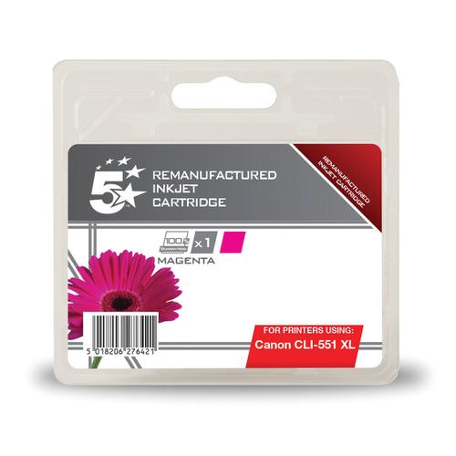 5 Star Office Remanufactured Inkjet Cartridge HY 660pp 11ml [Canon CLI-551XL Alternative] Magenta