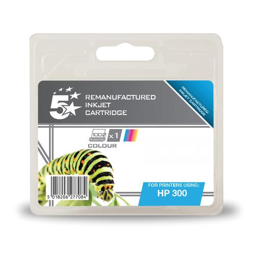 5 Star Office Remanufactured Inkjet Cart Page Life 165pp 4ml Tri-Colour [HP No.300 CC463EE Alternative]