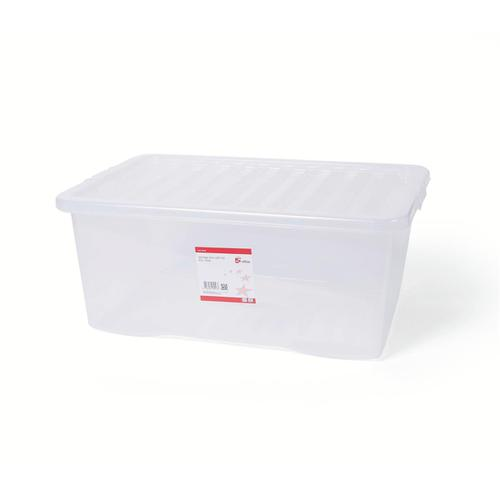 5 Star Office Storage Box Plastic with Lid Stackable 45 Litre Clear