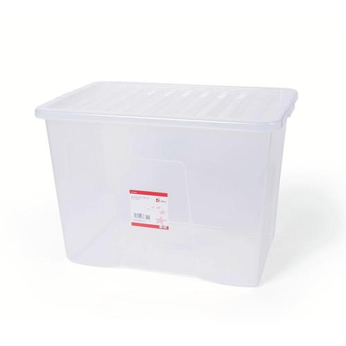 5 Star Office Storage Box Plastic with Lid Stackable 60 Litre Clear