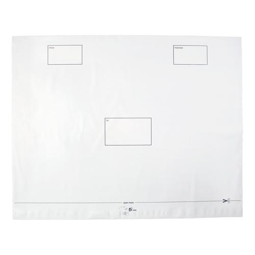 5 Star Elite Envelopes ExtraStrong Waterproof Polythene Peel & Seal Opaque 600x430mm&50mm Flap [Pack 100]
