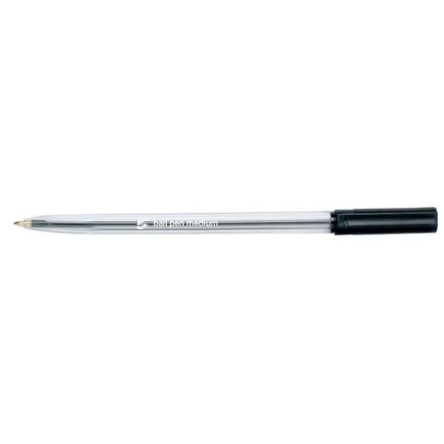5 Star Office Ball Pen Clear Barrel Medium 1.0mm Tip 0.7mm Line Black [Pack 20]