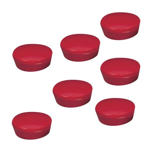 5 Star Office Round Plastic Covered Magnets 20mm Red [Pack 10]
