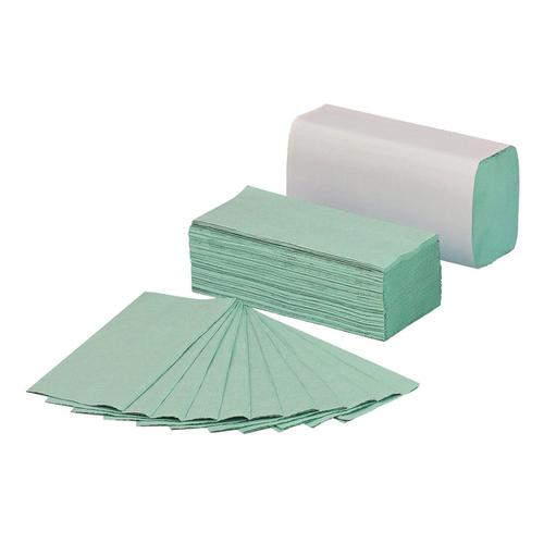 5 Star Facilities Hand Towels 1 Ply Z-fold 250 Towels per Sleeve Green [Pack 12 Sleeves]