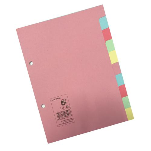 5 Star Office Subject Dividers 10-Part Recycled Card Two-hole Punched 155gsm A5 Assorted