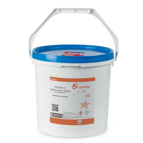 5 Star Facilities Disinfectant Wipes Anti-bacterial PHMB-free BPR Low-residue 190x200mm [1500 Wipes]